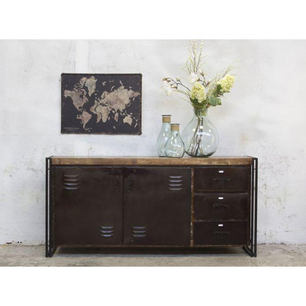 Industrie Kommode URBAN Style B 191 cm mit Holzplatte Metall schwarz