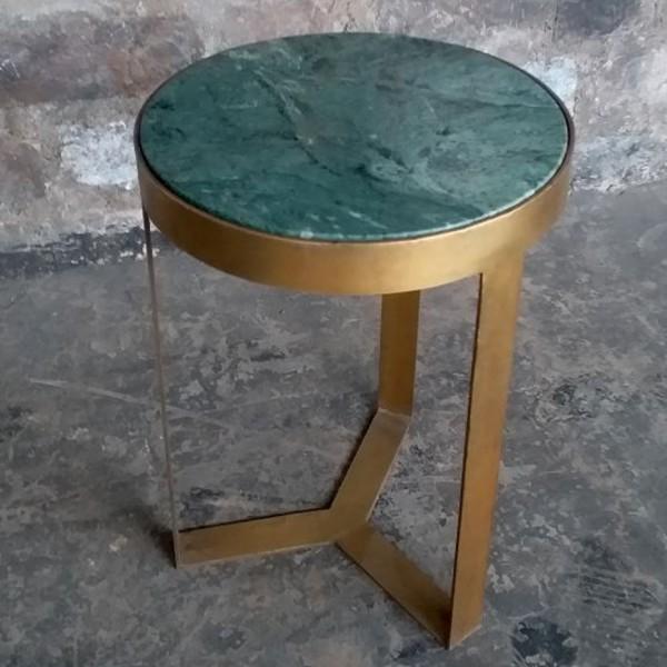 Beistelltisch Glennis Marble Ø 40 cm Green Gold Marmor Metall