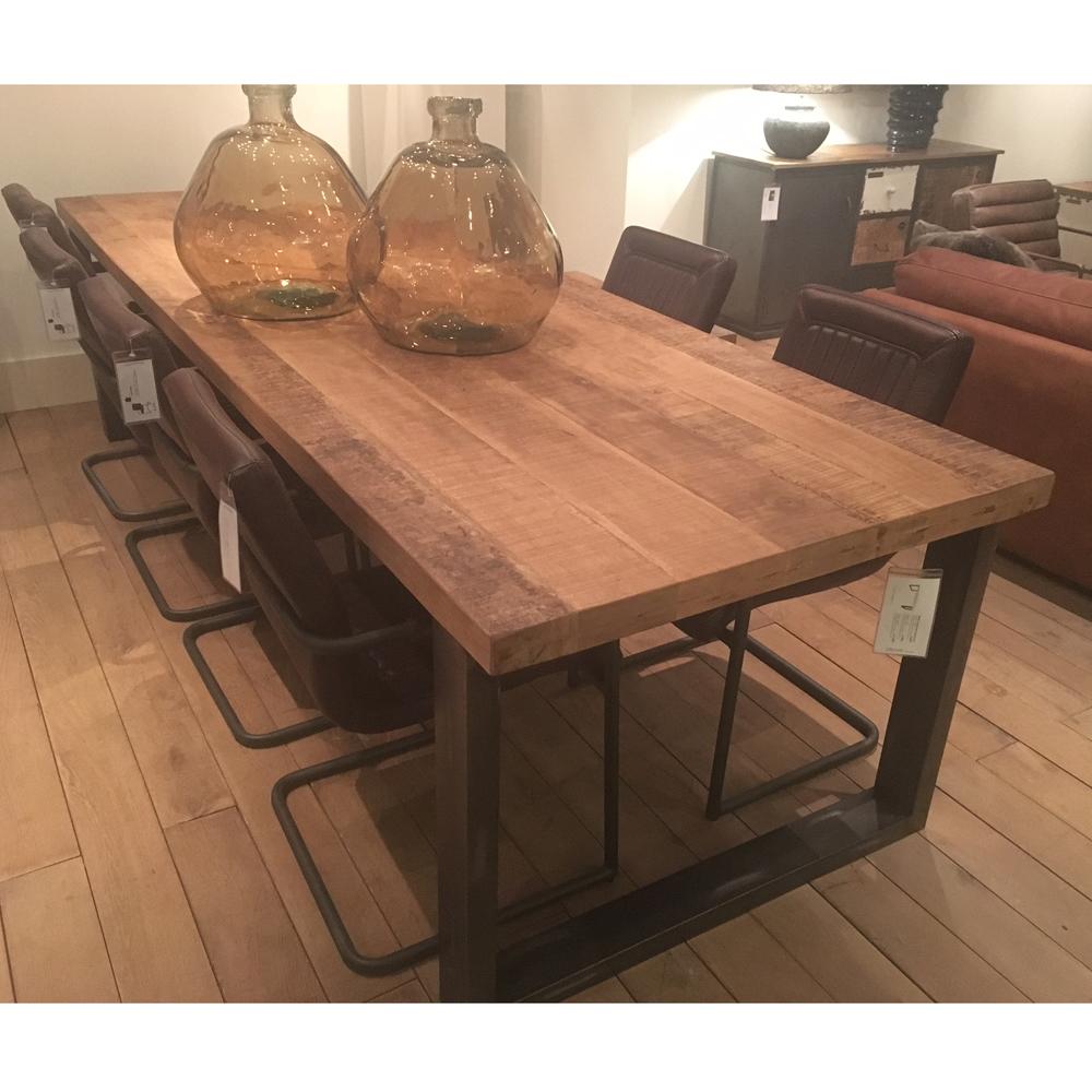 Esstisch Dinnertisch Mango massiv Metallbeine Holztisch Holz  New