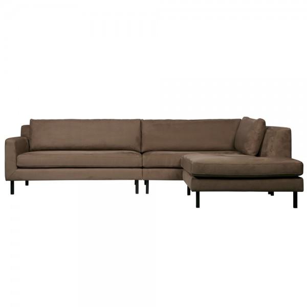 Eckgarnitur NATE Taupe Wildlederoptik Couch Sofa Ecksofa Eckcouch Longchair rechts