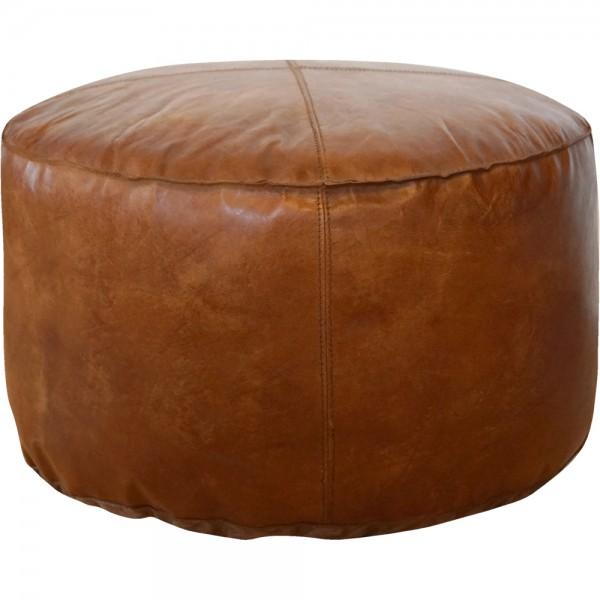Leder Hocker Ø 50 cm rund Lederhocker Sitzhocker Sitzpouf Leder braun