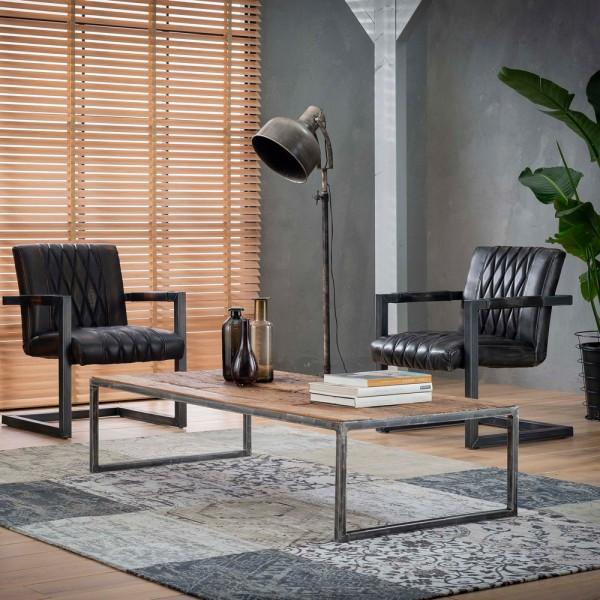 Couchtisch Beistelltisch Java 150 x 70 cm Metall Massivholz Tisch Sofatisch