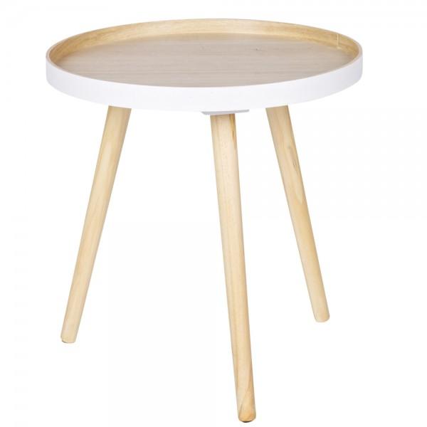 Beistelltisch SASHA Ø 41 cm Tisch Kaffeetisch Anstelltisch MDF Massivholz Shabby