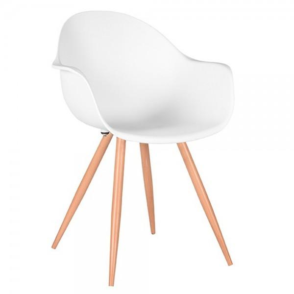 Schalenstuhl Parma weiß Stuhl mit Armlehne