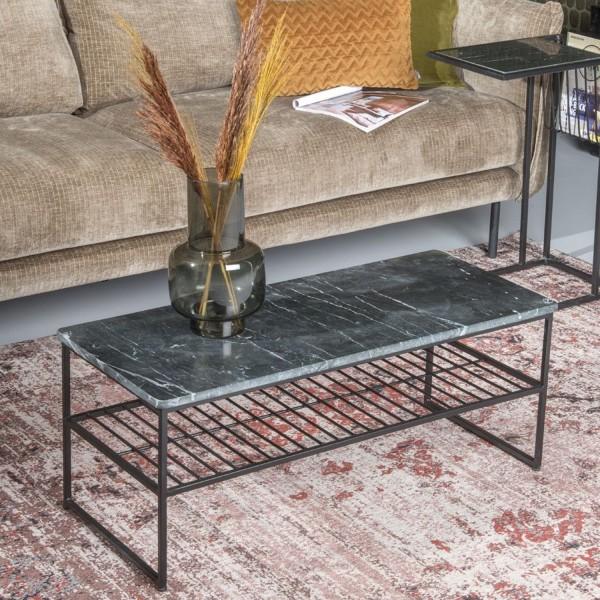 Couchtisch Dian Marble 90 x 40 cm Metall schwarz Marmor schwarz Sofatisch Tisch