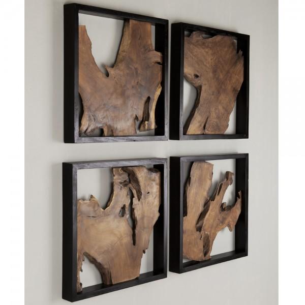 MUST LIVING Deko Wandpanell Trunk 50 x 50 cm recyceltes Teakholz