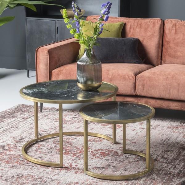 2er Set Beistelltisch Jamie Marble Metall goldfarben Marmor Couchtisch Tisch
