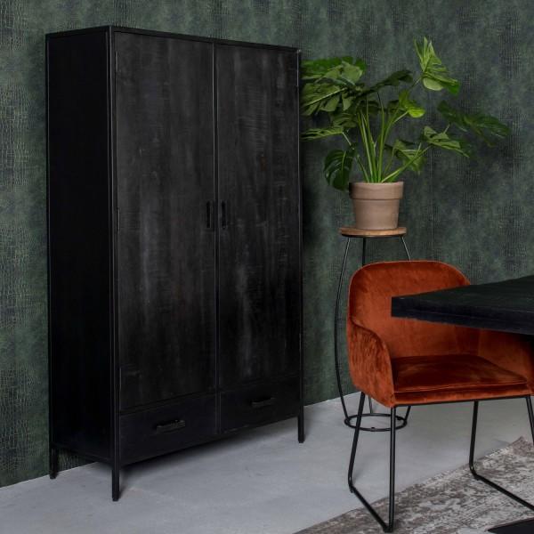 Schrank Kala B 100 cm Mango Massivholz schwarz