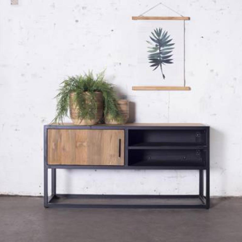 vintage tv m bel banda 120 cm lowboard 1 t r fernsehtisch. Black Bedroom Furniture Sets. Home Design Ideas