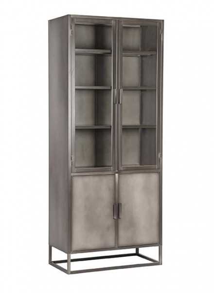 Industrie Vitrine Nevel H 190 cm Metall Schrank vintage grau