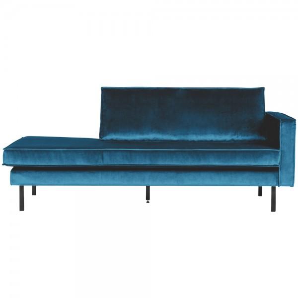 Sofa Chaiselongue RODEO Recamiere Samt blau rechts Tagesbett