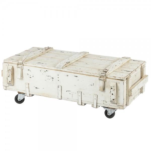 Vintage Couchtisch ARMY 104 x 50 cm rollbar Truhe Tisch Sofatisch Massivholz