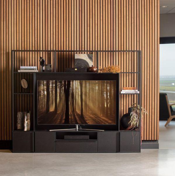 TV Möbel Toby B 200 cm Schrankwand schwarz
