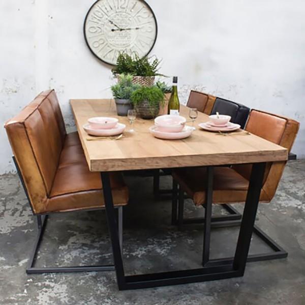 Industrie Esstisch GILI 200 x 100 cm Esszimmertisch Massivholz Dinnertisch Metall schwarz