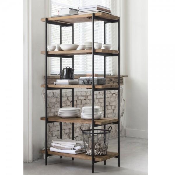 Regal Bucherregal H 163 Cm 5 Ebenen Teak Holz Metall New Maison