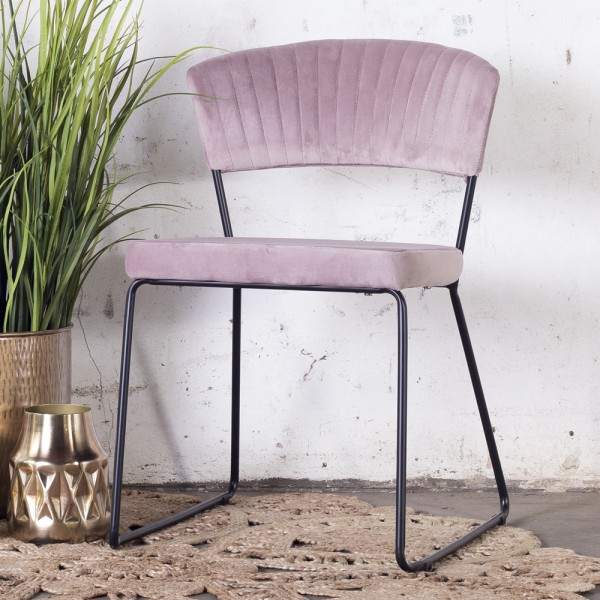 2´er Set Esszimmerstuhl Grace Velvet Samt pink Stuhl