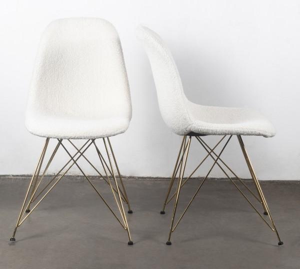 2er Set Stuhl Esszimmerstuhl Luxe Stoff weiß Beine gold