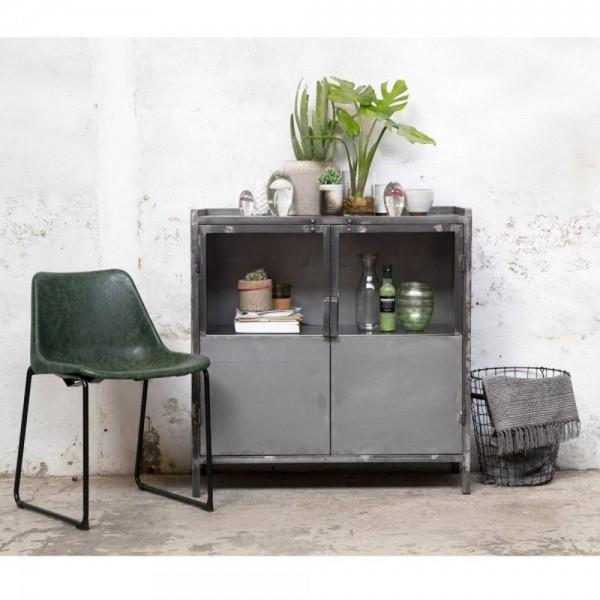 Vintage Schrank 2 Türen 90 cm breit Vintage Metall grau
