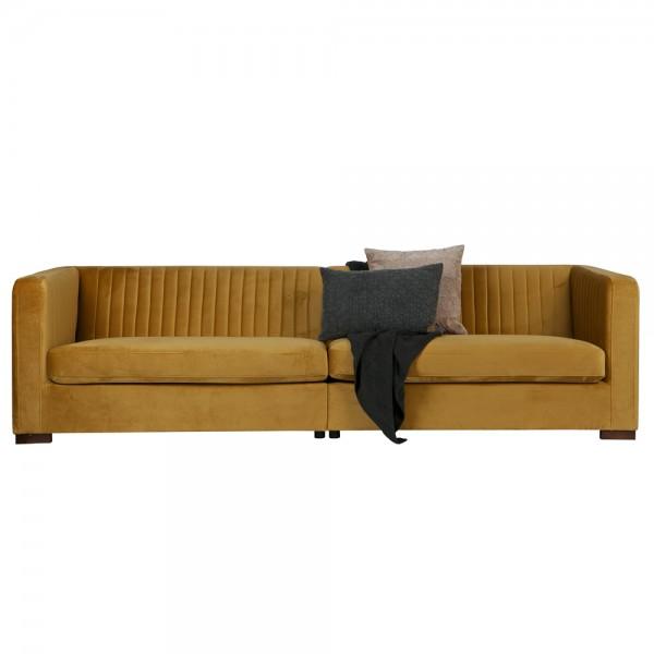 3 Sitzer Sofa NOUVEAU XL Samt senf Couch Garnitur Loungesofa Couchgarnitur