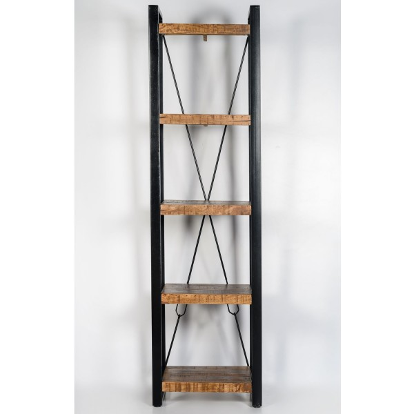Regal Bücherregal Nairobi 55 cm Mango Massivholz Metall schwarz