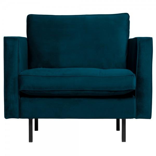 1,5 Sitzer Sessel Rodeo Classic Samt blau Lounge Armlehnsessel Fernsehsessel