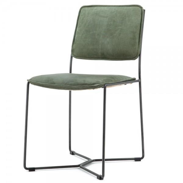Esszimmerstuhl Mees Grün Vintage Leder Polsterstuhl Stuhl