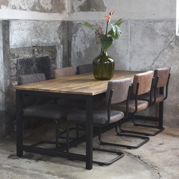 Esstisch Ghent 160 x 90 cm Mango Massivholz Metall Esszimmertisch Tisch Dinnertisch