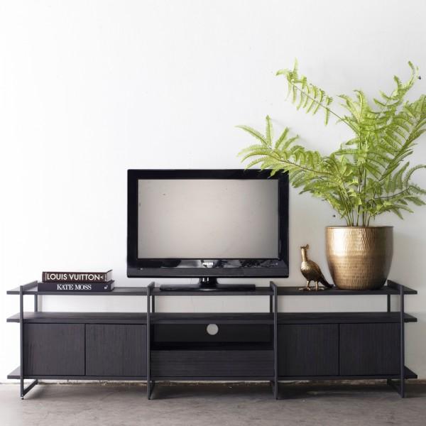 TV Möbel Lowboard Star 200 cm Akazie Metall schwarz