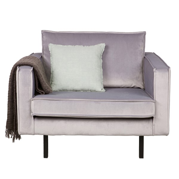 Sessel Sofa RODEO Samt hellgrau Lounge Couch Armlehnsessel
