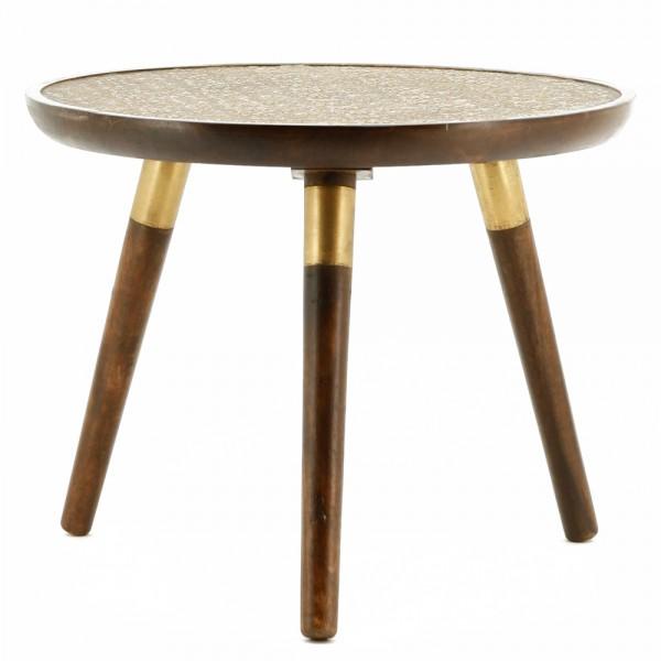 Beistelltisch JAFAR Ø 55 cm braun Tisch Kaffeetisch Anstelltisch Mango massiv