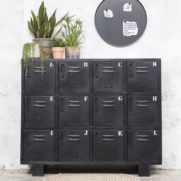 Industrie Design Kommode Aufbewahrungsschrank 12 Türen Metall Schrank schwarz