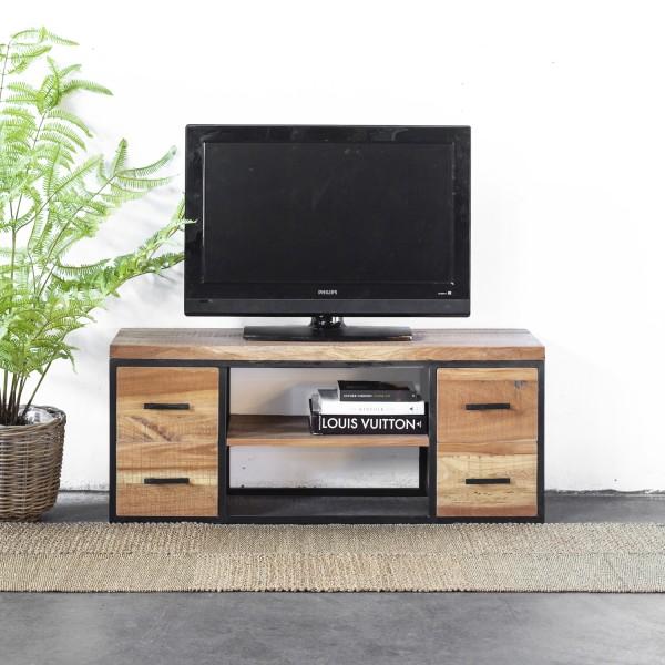 Industrie TV Möbel Hano 120 cm Lowboard recyceltes Holz