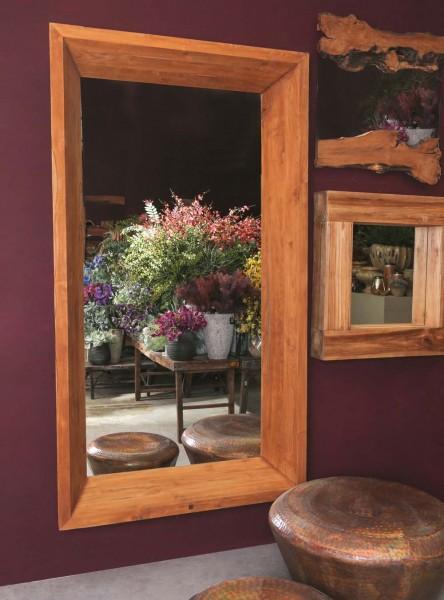 PTMD Wandspiegel EWAN 160x 80 cm Spiegel mit tiefem Holzrahmen Teak Holz