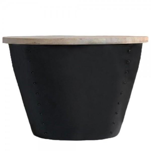Couchtisch INDI schwarz Ø 60 cm Metall Mango massiv Beistelltisch Sofatisch Tisch