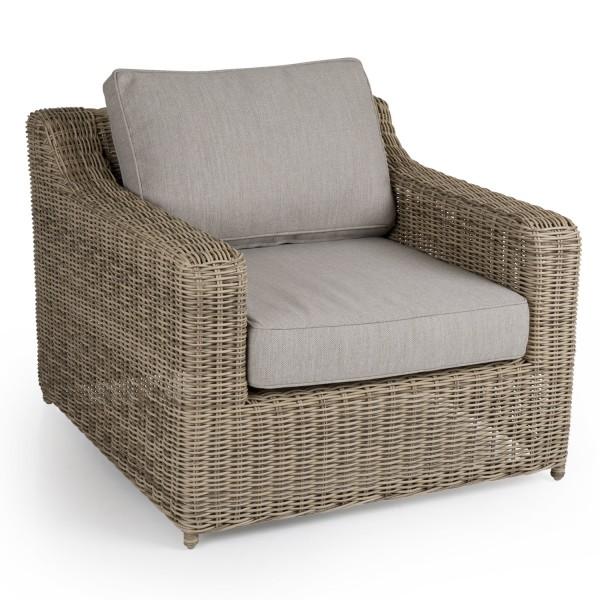 Garten Sessel Glendon Polyrattan natur mit Sitz- und Rückenkissen