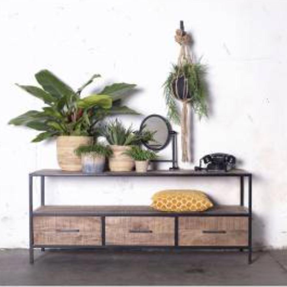 vintage tv m bel henk 150 cm lowboard 3 schubladen. Black Bedroom Furniture Sets. Home Design Ideas