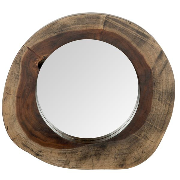 MUST LIVING Wandspiegel Sensation Ø 35 cm Dekospiegel Spiegel Teakholz