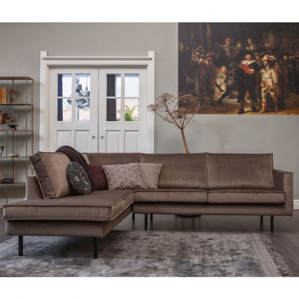 BePureHome Ecksofa Rodeo Samt taupe Longchair links