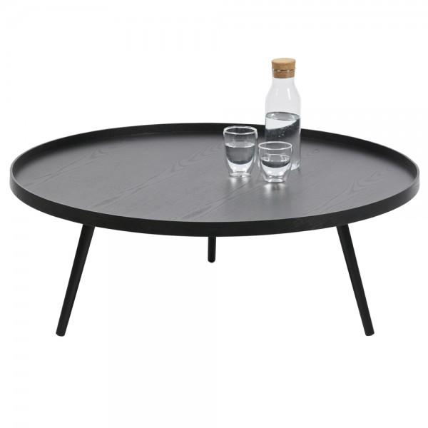 Beistelltisch Couchtisch MESA Ø 100 cm Tisch Kaffeetisch Massivholz MDF schwarz