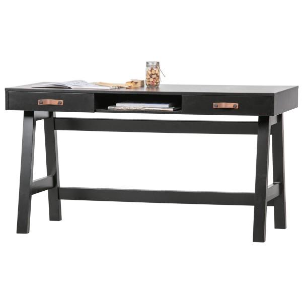 Office Schreibtisch Dian 140 cm Kiefernholz schwarz
