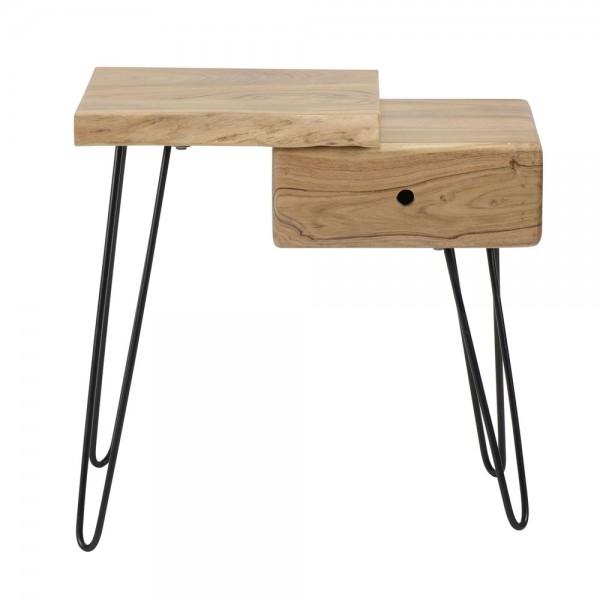 Nachttisch Baumstamm Holz Akazie links