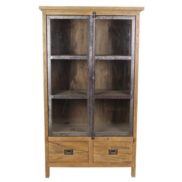 Vitrinenschrank DINGKLIK Vitrinen Schrank Küchenschrank Holz Türen Schubladen