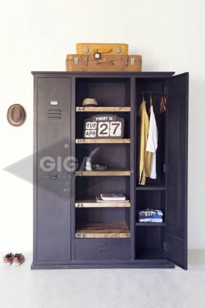 Schrank Garderobe Kleiderschrank LOCKER Metall schwarz