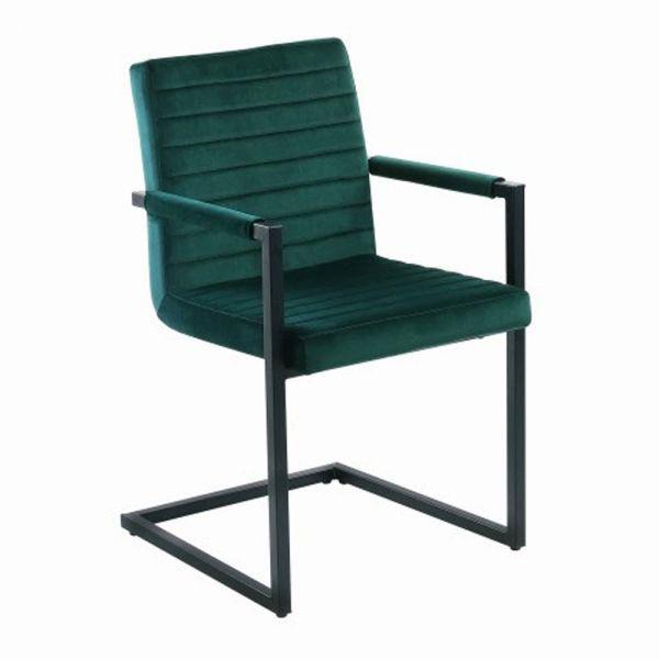 2er Set Esszimmerstuhl Colorado waldgrün Samt Armlehnstuhl Esstischstuhl Freischwinger