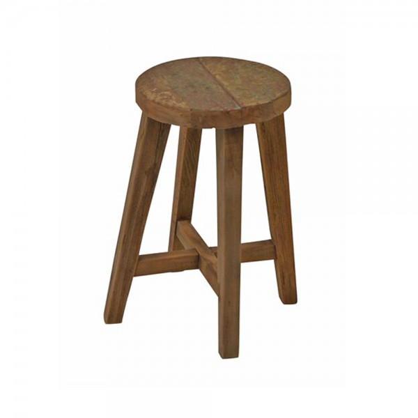 Hocker MARVIN rund Ø 30 cm Sitzhocker Fußhocker Holz Teak Massivholz Holzhocker
