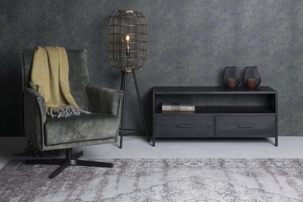 TV Möbel Kala 120 cm Mango Massivholz Metall Lowboard schwarz