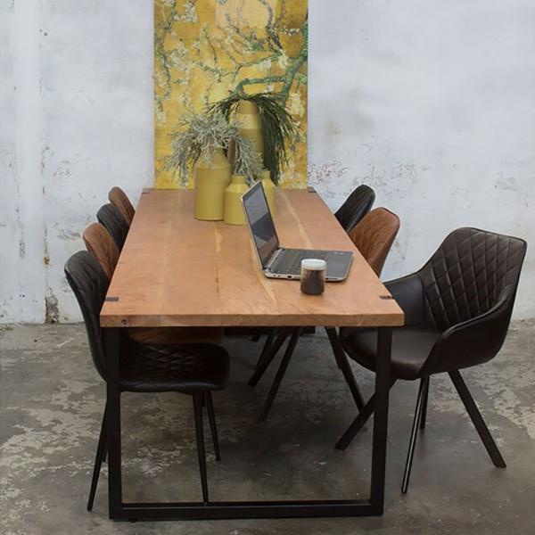 Industrie Esstisch WOODY 180 x 90 cm Esszimmertisch Massivholz Dinnertisch Metall schwarz