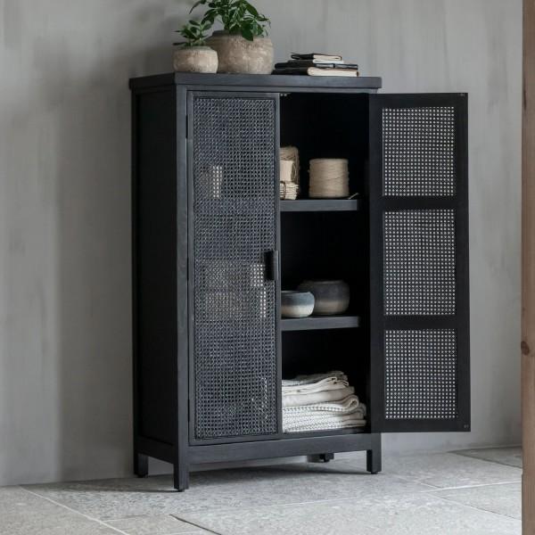 MUST Living Rattan Kommode Provence H 140 cm 2 Türen schwarz