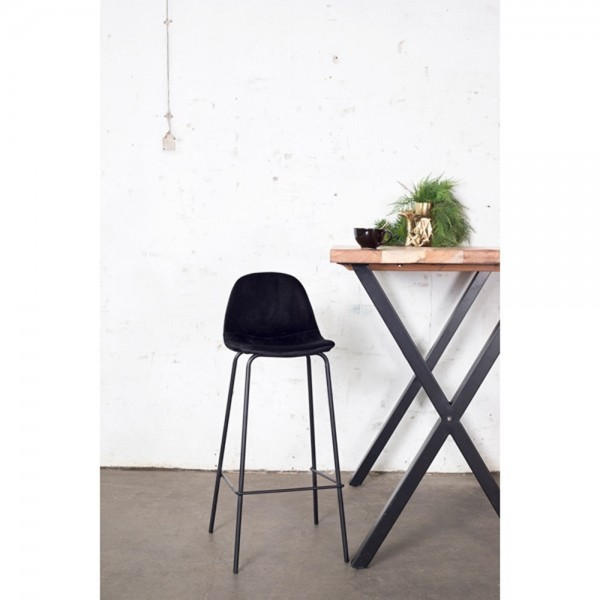 Barhocker SAAR H Sitzhöhe 66 cm Samt schwarz Velvet Barstuhl