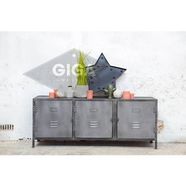 Industrie Lowboard DEX 150 cm Metall grau
